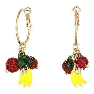 BETSEY JOHNSON Fruit Salad Gold Hoop Earrings